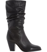 Dune Rossy Leather Calf Boots Black Leather