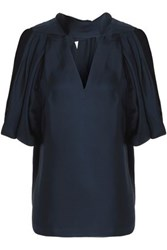 Raoul Metropolis Brushed Silk Twill Top Midnight Blue