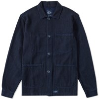 Bleu De Paname Woven Denim Counter Jacket Blue