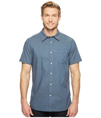 The North Face Short Sleeve On Sight Shirt Shady Blue Stripe Men's Short Sleeve Button Up