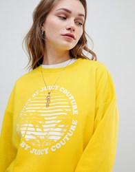 Juicy Couture By Logo Sweatshirt With Paradise Print Morning Sunshine Yellow