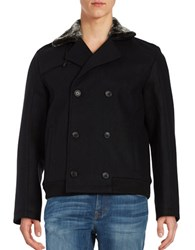 Calvin Klein Faux Shearling Double Breasted Jacket Black
