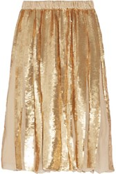 Tibi Eclair Pleated Sequined Silk Georgette Skirt Gold