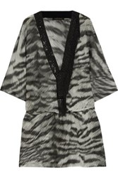 Roberto Cavalli Bead Embellished Printed Cotton And Silk Blend Kaftan Black
