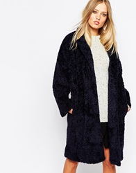 Whistles Sophie Cocoon Coat In Teddy Fur Navy