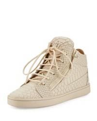 Giuseppe Zanotti Python Embossed Leather High Top Sneaker Beige