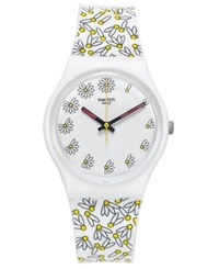 Swatch Women's Swiss Pick Me Multicolor Print Silicone Strap Watch 34Mm Gw174 White