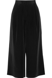 Elizabeth And James Trenton Cropped Silk Wide Leg Pants Black