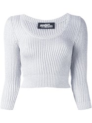 Jeremy Scott Cable Knit Cropped Jumper Metallic