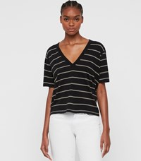 Allsaints Saro Stripe T Shirt Black Ecru White