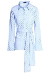 Raoul Tie Front Embroidered Gingham Cotton Poplin Shirt Light Blue