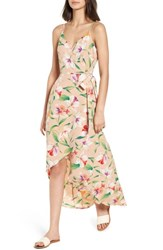 Lush Floral Wrap Maxi Dress Mocha Multi Floral