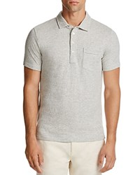 Billy Reid Patterson Stripe Slim Fit Polo Shirt Light Gray Natural