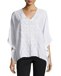 Neiman Marcus Ball Trim Embroidered Blouse Ivory