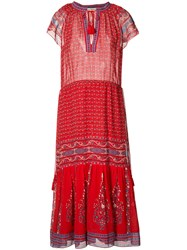 Ulla Johnson Tassel Detail Midi Dress Red