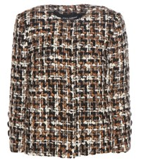 Dolce And Gabbana Wool Blend Tweed Jacket Brown