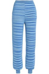 Missoni Jacquard Knit Cashmere And Silk Blend Track Pants Light Blue