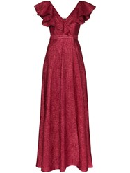 Vika Gazinskaya V Neck Ruffle Maxi Dress Red