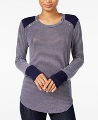 Maison Jules Striped Button Detail Top Only At Macy's Blu Notte Combo