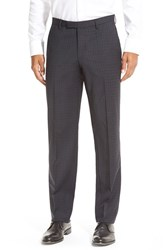 Men's Boss 'Sharp' Flat Front Solid Wool Trousers Navy Plaid