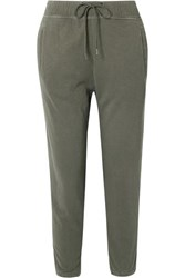 James Perse Supima Cotton Jersey Track Pants Army Green