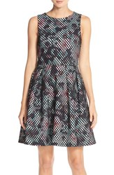 Women's Kaya And Sloane Bonded Mesh Fit And Flare Dress