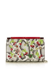 Christian Louboutin Vanite Cherry Embroidered Snakeskin Clutch Multi