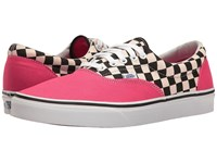 Vans Era Two Tone Check Rouge Red True White Skate Shoes Pink