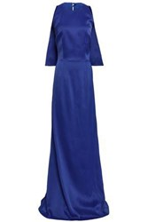 Safiyaa Cape Effect Embellished Satin Crepe Gown Royal Blue