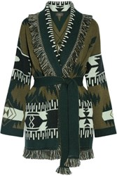 Alanui Fringed Jacquard Knit Cashmere Cardigan Army Green