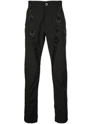 D.Gnak Buckled Strap Slim Fit Trousers Black