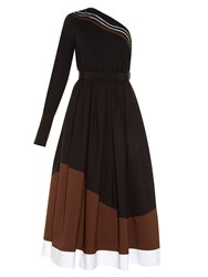 Fendi Wave One Shoulder Taffeta Midi Dress Black Brown