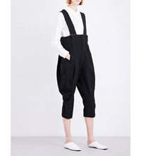 Comme Des Garcons Cropped Woven Trousers With Braces Black