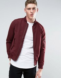 Jack And Jones Core Ma1 Bomber Jacket In Lightweight Burgundy Red