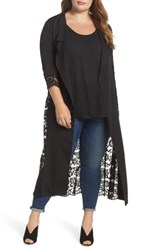 Elvi Plus Size The Syrin Lace Back Trench Coat Black
