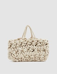 Alienina Woven Tote Bag In White