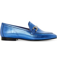 Dune Guru Metallic Leather Loafers Blue Metallic