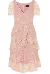 Marchesa Notte Tiered Satin Trimmed Embroidered Tulle Dress Blush