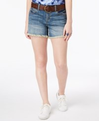 Dollhouse Juniors' Belted Frayed Hem Denim Shorts Reef Wash