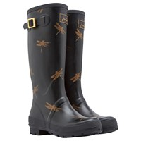 Joules Tall Dragonfly Rubber Wellington Boots Black