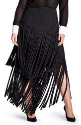 Plus Size Women's Mynt 1792 Fringe Maxi Skirt