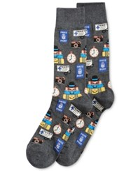 Hot Sox Men's Patterned Socks Charcoal Travel Icon Print