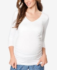 Isabella Oliver Maternity Ruched Shirt Pure White