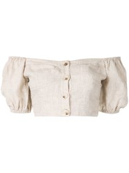 Suboo Off The Shoulder Cropped Top Neutrals