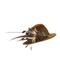 Philip Treacy Wool Felt Fedora Hat W Feather Trim Brown