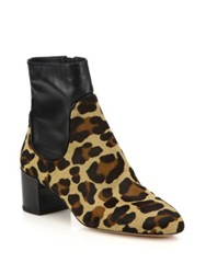 Michael Kors Erin Leather And Cheetah Print Calf Hair Ankle Boots Black Multi