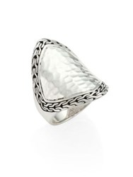 John Hardy Classic Chain Hammered Silver Heritage Marquise Ring