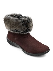 Hotter Romance Faux Fur Collar Ankle Boots Chocolate