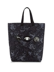 Kenzo Badge Embellished Nylon Tote Black Multi