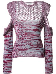 Philosophy Di Lorenzo Serafini Open Knit Cut Off Blouse Pink Purple